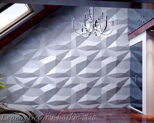 Гипсовая 3D панель «Кристалл» в интерьере