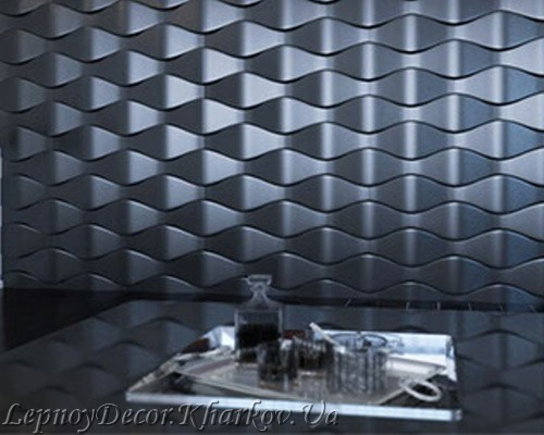 Гипсовая 3D панель «Чешуя» в интерьере