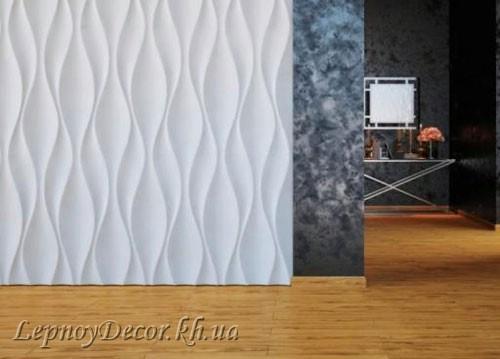 Гипсовая 3D панель «Бутоны» в интерьере