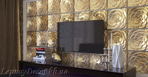 Гипсовая 3D панель «Розалинда» в интерьере