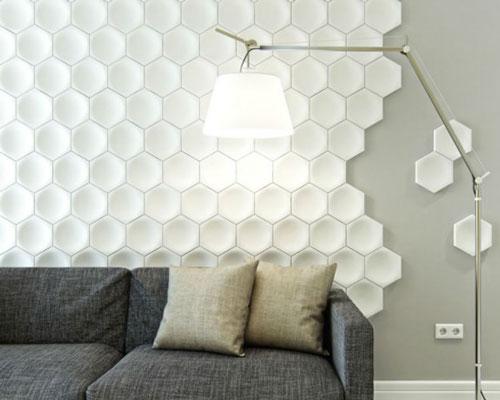 Гипсовая 3D панель «Соты мозаичные» в интерьере