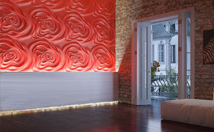 Гипсовая 3D панель «Чайная роза» в интерьере