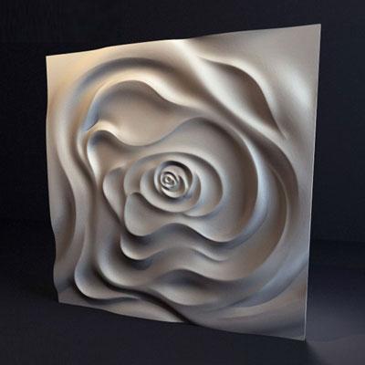 Гипсовая 3D панель «Чайная роза»