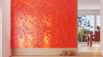 Гипсовая 3D панель «Цветок лотоса» в интерьере