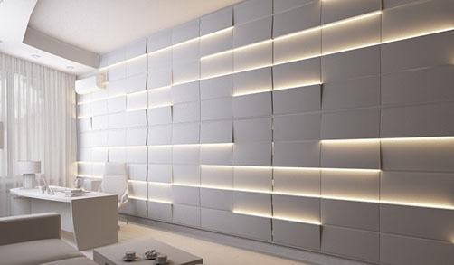 Гипсовая LED-панель «Космо» в интерьере