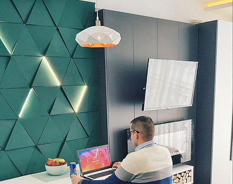 Гипсовая LED-панель «Дельта» в интерьере