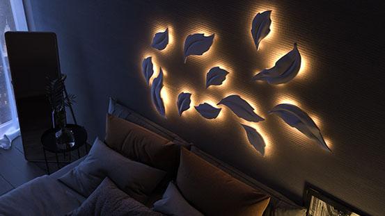 Гипсовая LED-панель «Листья» в интерьере